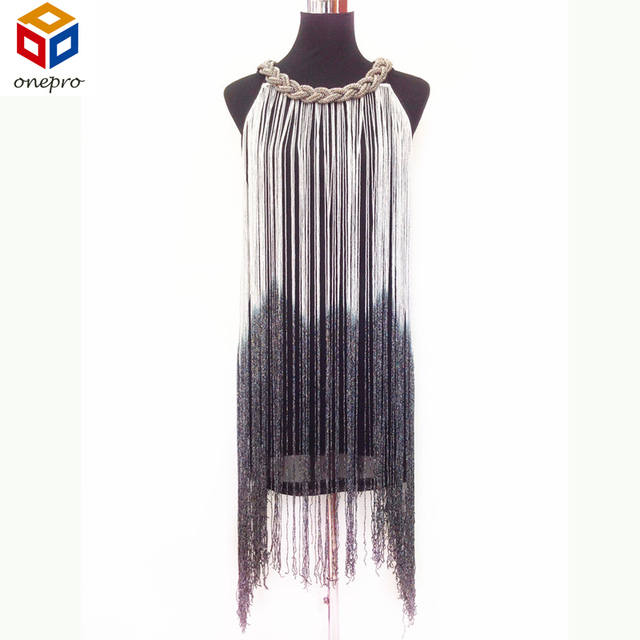 Women's Chain Neck Swing Ombre Draping Tassel Flapper Gatsby Club Dress Sexy Party Fringe Bodycon Dress