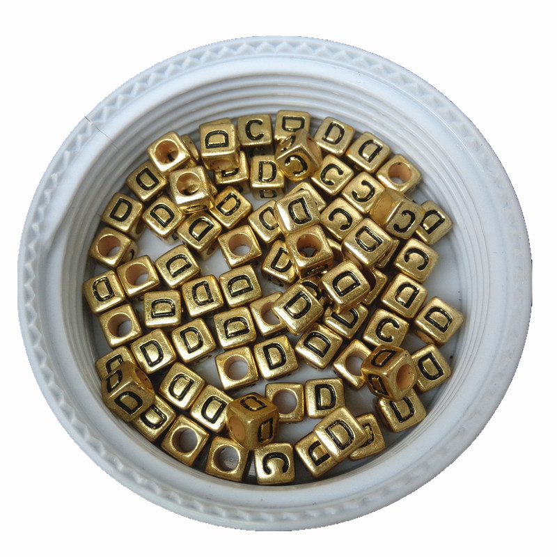 Beads 6*6mm Big Hole Cube Gold Acrylic Letter D Beads 2600pcs 500pcs Diy Jewelry Findings Ornament Accessories Plastic Alphabet Beads Moderate Cost Beads & Jewelry Making