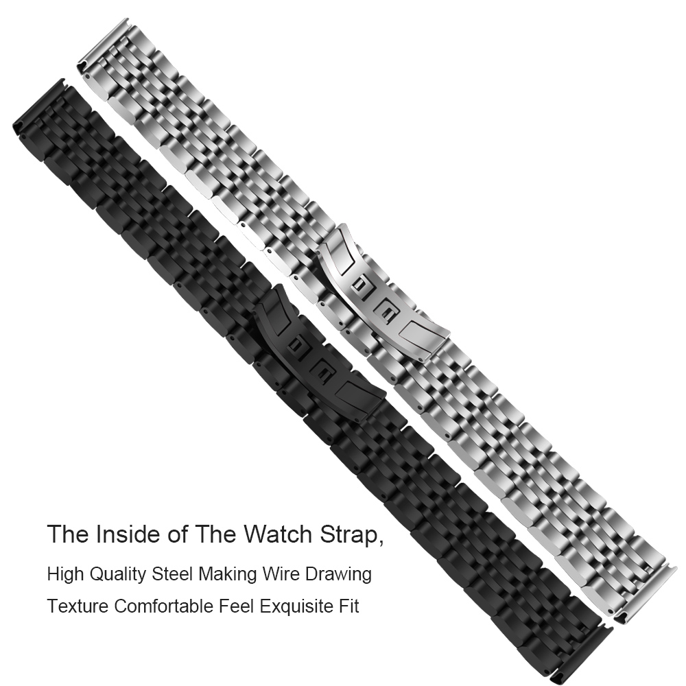 22mm for Gear S3 Classic Frontier R760 R770 Stainless Steel Watchband for Samsung Galaxy Watch 46mm Band Wrist Strap Bracelet in Watchbands from Watches