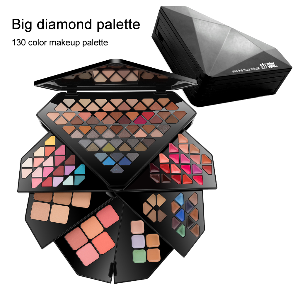 130 Color Professional Makeup Set Eye Shadow Palette Lip Gloss Concealer Cream Eyebrow Powder Set Christmas Gift Box For Women saiantth makeup tool set kit combination 15 color concealer palette toothbrush makeup brush water drops sponge puff cosmetic