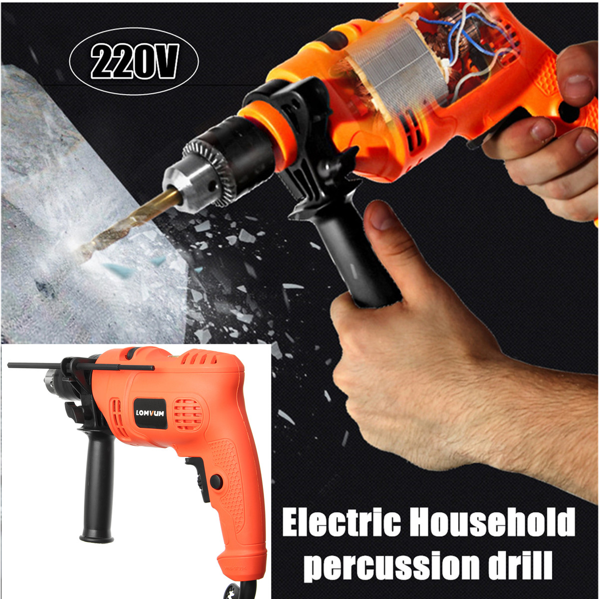 Percussion Electric Drill Power Drills Impact Drill with 66 Pcs Sleeve Household Home Decoration 220V 600W multi purpose impact drill for household use la414413 upholstery drilling wall percussion impact drill set power tools 220v 810w