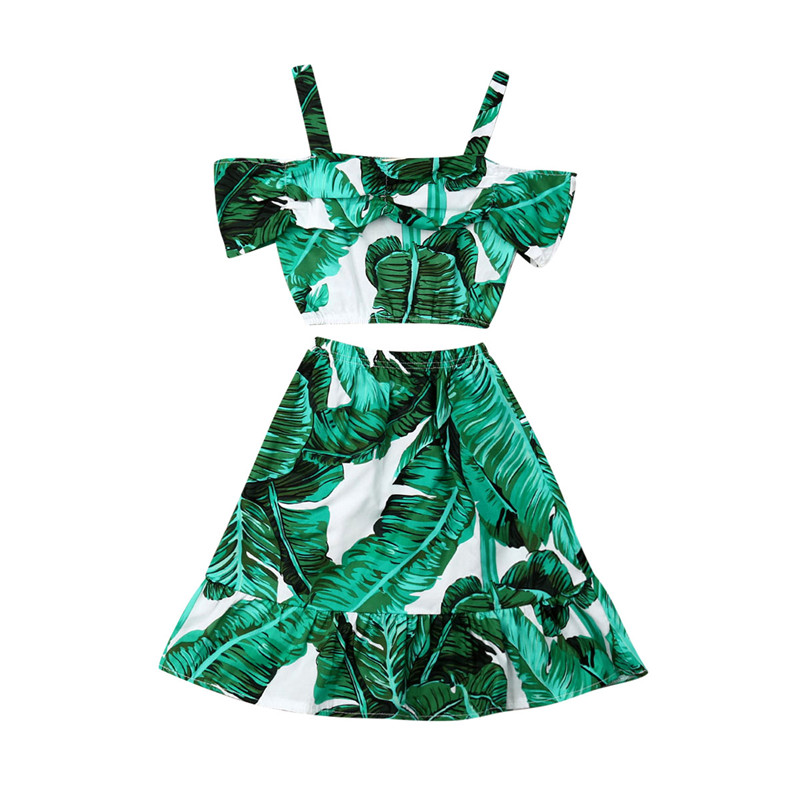 Kids Baby Girl Summer Outfits Boho Leaves Printed 2Pcs Off Shoulder Sling Crop Tops+Skirts A-Line Girl Cotton Clothes Sets 1-5Y