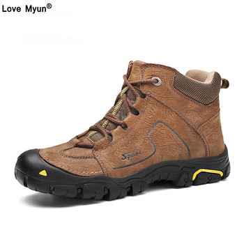 Handmade Suede Leather Men Boots Fashion Autumn And Winter Shoes Keeping Warm Work Hiking Winter Snow Boots Men Shoes733
