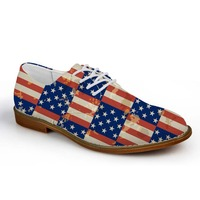 Noisydesigns Teenagers Casual Oxfords Shoes National Flag Print Men Leather PU Business Dress Shoe Lace Up Loafers Boys Leisure