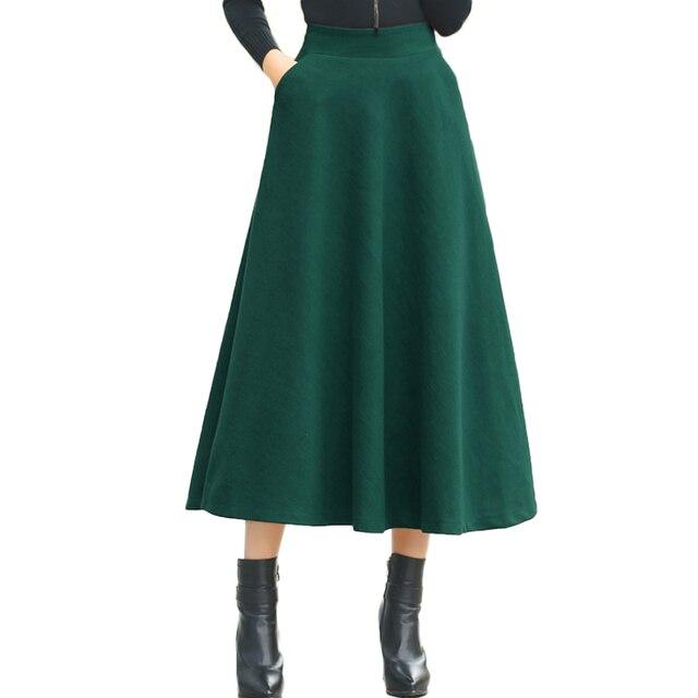 206a75d2bffb Personnaliser Hiver Jupe Patineuse Taille Haute Femmes Laine A-ligne Jupe  Longue Vintage Poche Jupe