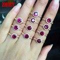 Anillo real de 925 mujeres de plata de piedra Natural topacio gema joyería ZHHIRY