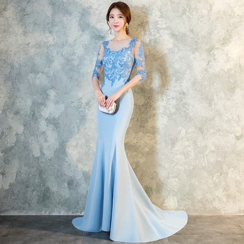 Noble Women Trailing Dress Sky Blue Lace Hollow Out Qipao Oriental Ladies Evening Party Cheongsam Sexy