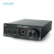 KGUSS DAC K3 MINI HiFi 2.0 cyfrowy dekoder audio DAC wejście USB/koncentryczne/optyczne wyjście RCA/wzmacniacz słuchawkowy 24Bit/96KHz DC12V
