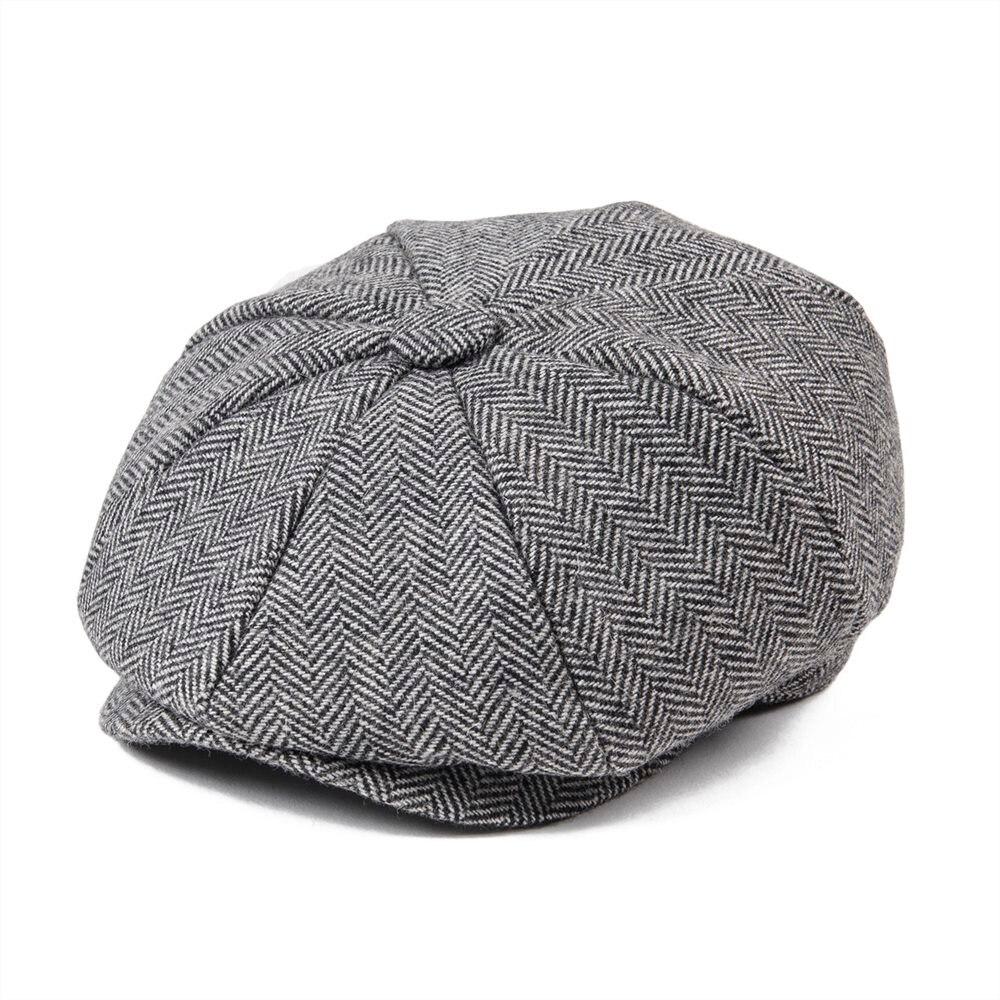 JANGOUL Wool Tweed Kid Newsboy Cap Child Herringbone Flat Cap Baker Boy Hat Girl Small Size Infant Toddler Youth Beret Boina 001