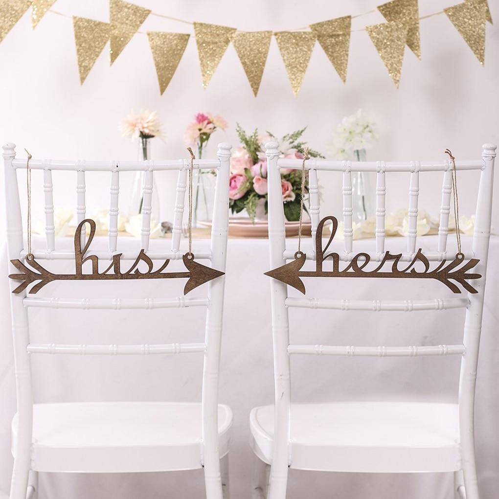 2pcs Wedding Wooden Supplies Hanging Letters Chair Door Decoration Wedding Photo Props