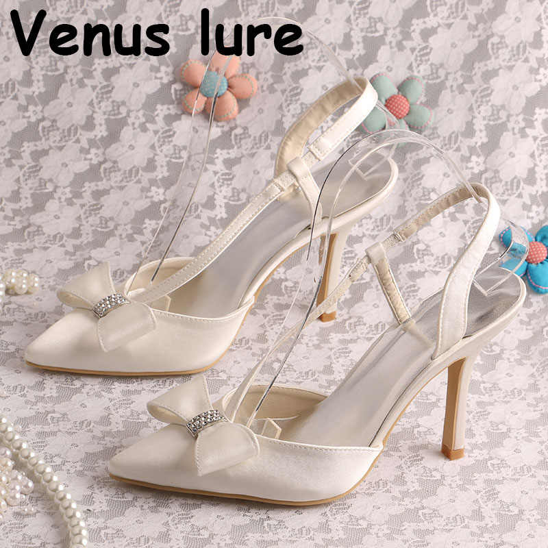 Off white Pointy Toe Brides Shoes for Wedding Stiletto Heel Women Bow Pumps cf417e31448d