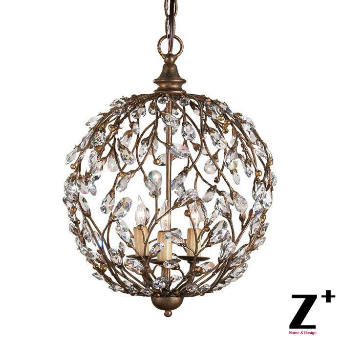 LED light CAMILLA Pendant Globe aged copper black country ...