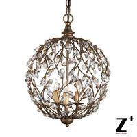 LED Light CAMILLA Pendant Globe Aged Copper Black Country Style Tree Branch Iron Sphere Lustre K9