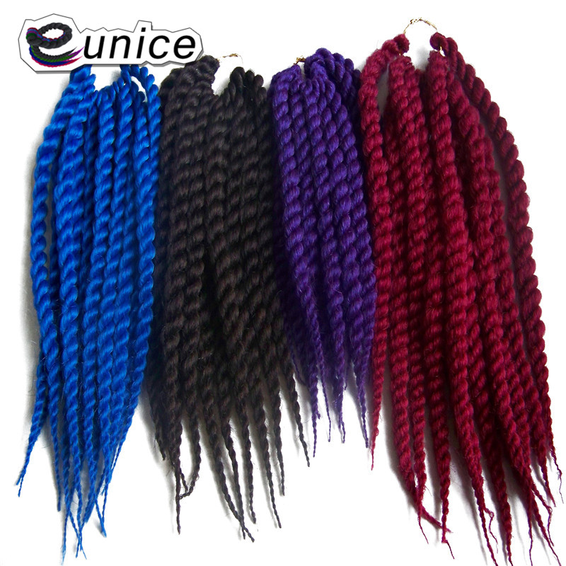 "Synthetic Hair For Braiding Crochet Braids Havana Twist Eunice Fiber Hair Extension 1PC 12-24""Black/Red/Grey/Brown colors"
