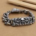 Handmade Thai 925 Siilver Skull Chain Bracelet 210mm Pure Silver Man Bracelet Jewelry Gift Punk Skull Jewelry