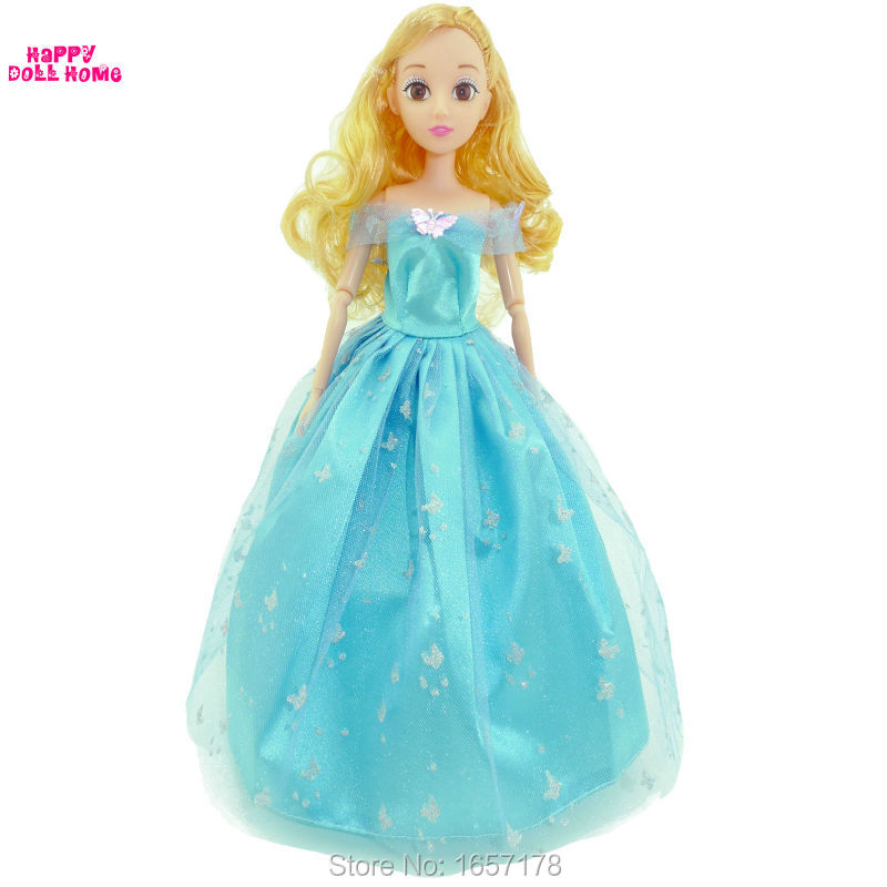 Cinderella Social gathering 1 Set Princess Doll Gown Cute Handmade Social gathering Mild-Blue Garments Trend Lengthy Robe For Barbie Doll Equipment