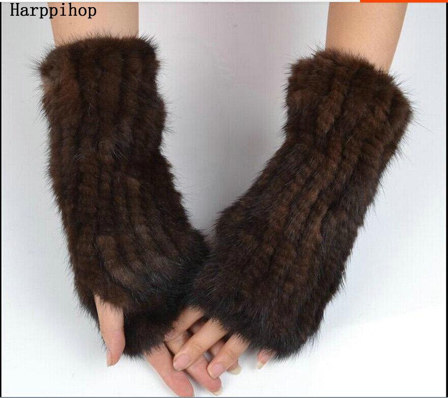 2017 hommes et femmes vison cheveux tissage demi-doigt manchette en automne et hiver gants de fourrure femme longs gants d'hiver