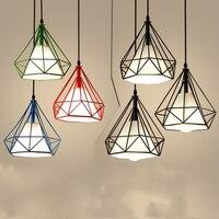 Modern Iron Pendant Light Black Hanging bird cage Led Lamp Diamond Pyramid Industrial Loft Dining Room Restaurant Bar Counter