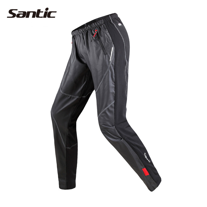 Santic Cycling Pants Mountain Bike Winter Warm Pants Men's Windproof Trousers Fleece Thermal Pants Clothing Long Pants C04007