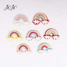 JOJO BOWS 7pcs Glitter Patches Blingbling Rainbow Felt Accessories For Scrapbooking Sticker Materials DIY Headware