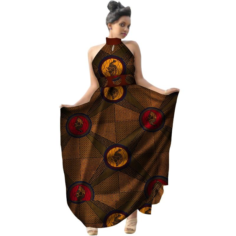 Été 2018 afrique imprimer cire femmes robe licou longue robe grande taille vêtements africains Bazin Riche robe pour dame WY2953 - 6