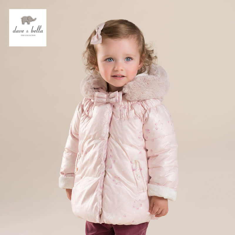 DB4271 davebella baby girls pink padded clothing hooded padded coat kids winter outerwear 2017 new pattern small children s garment baby twinset summer motion leisure time digital vest shorts basketball suit