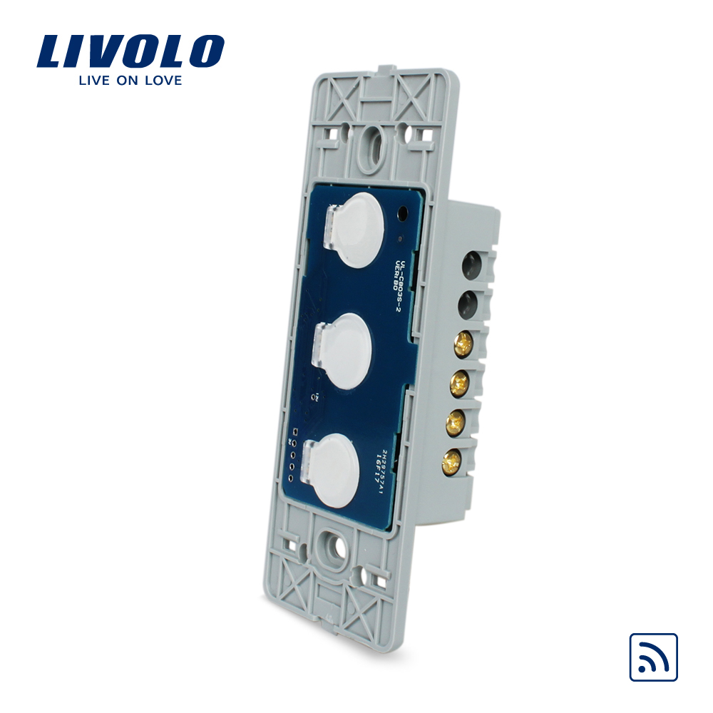Livolo US standard Wall Light Remote Touch Switch Base board , 3gang 1 Way,Without Crystal Glass Panel, VL-C503R uk standard wireless switch luxury crystal glass panel 1 gang 1 way home light switch remote touch switch vl c301r 63