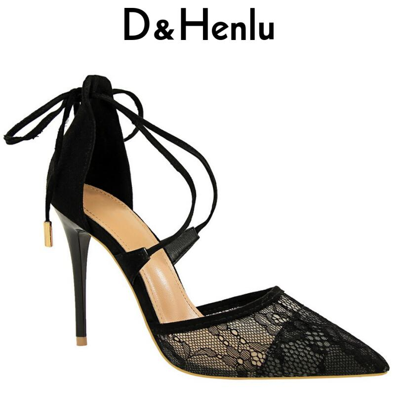 {D&Henlu} Sexy Lace Up High Heels Pumps Women Shoes Breathable Shoes Women Heels Ankle Strap Heel Shoes Woman Cross-tied Sandals hee grand cross tied women sandals summer sexy square high heels flock wedding shoes woman elegant pumps ladies 3 colors xwz2049