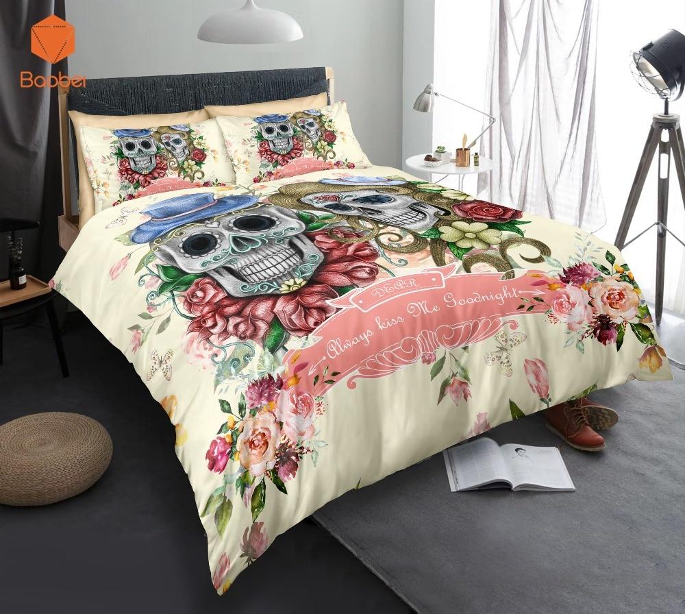 3D Sugar Skull Flowers Beddingt set With Pillowcas Cartoon Bed Duvet Cover for Kids 3pcs Bedclothes Quilt CoverSj231