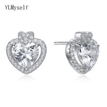Cute lovely real 925 stud earrings cz crystal jewelry quickly ship jewellery Elegant sterling silver heart design earring