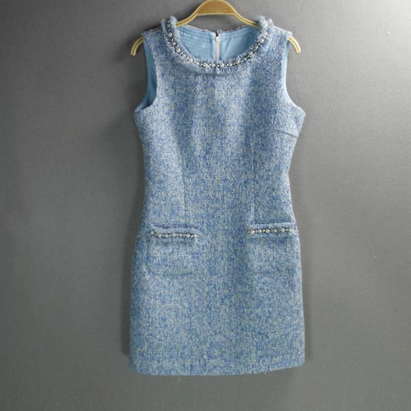 Pour Laine Pu De Personnalisée 2019 Avancée Paquet Dames Tweed Sans Hanche Femme Perlée Ciel automne Manches Bleu Printemps Robe Ycx7CUwHqB