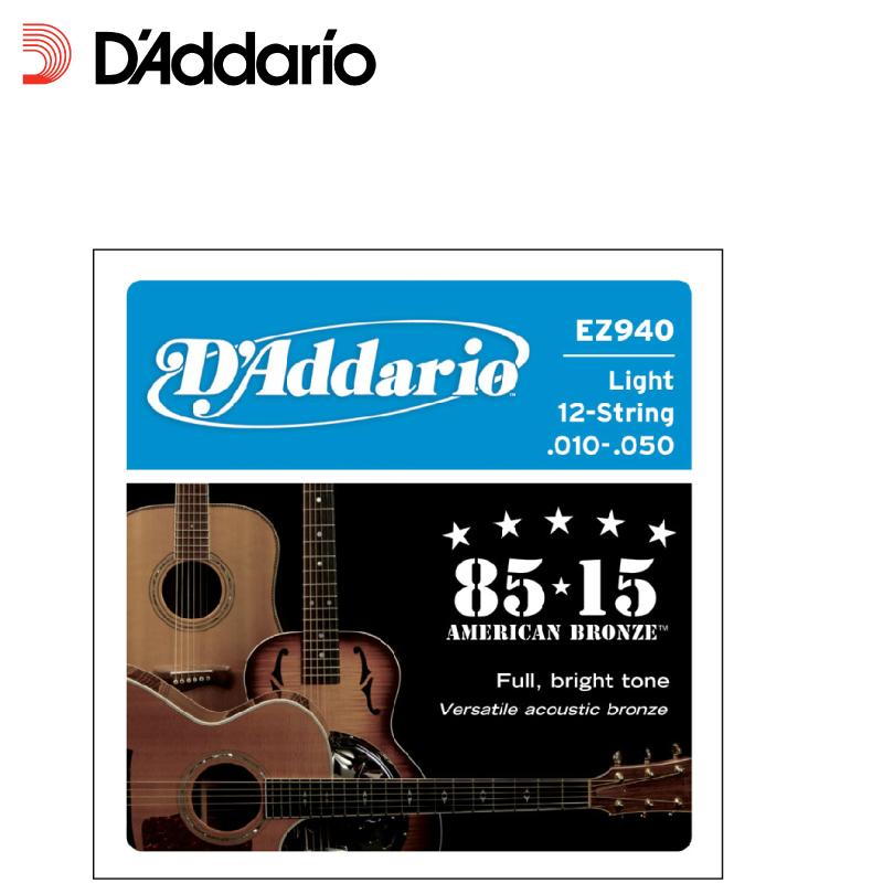 D'Addario EZ940 12-String 85/15 Great American Bronze Light Acoustic Guitar Strings 010-050 amola acoustic guitar strings set 010 012 011 pure copper steel 010 047 acoustic wound guitar 1 6th string musical instruments