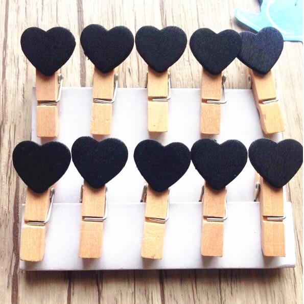 10pcs/lot Fashion Cute Black Color Heart Design Special Gift Wooden Clip Mini Bag Clip Paper Clip Wood Pegs Students' DIY Tools