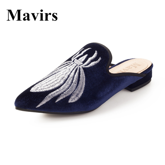MAVIRS Brand Women Mules Slippers Flats 2018 Fashion Blue Embroidery Spider  Casual Shoes Velvet Backless Slip