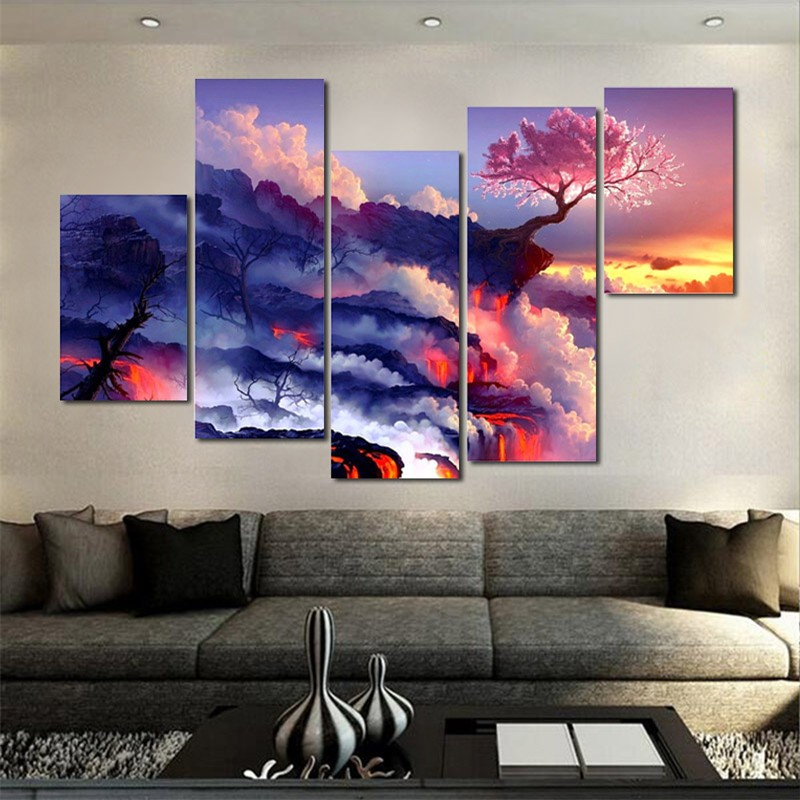 5pc set large canvas painting pictures on the wall print for Art painting for home decoration