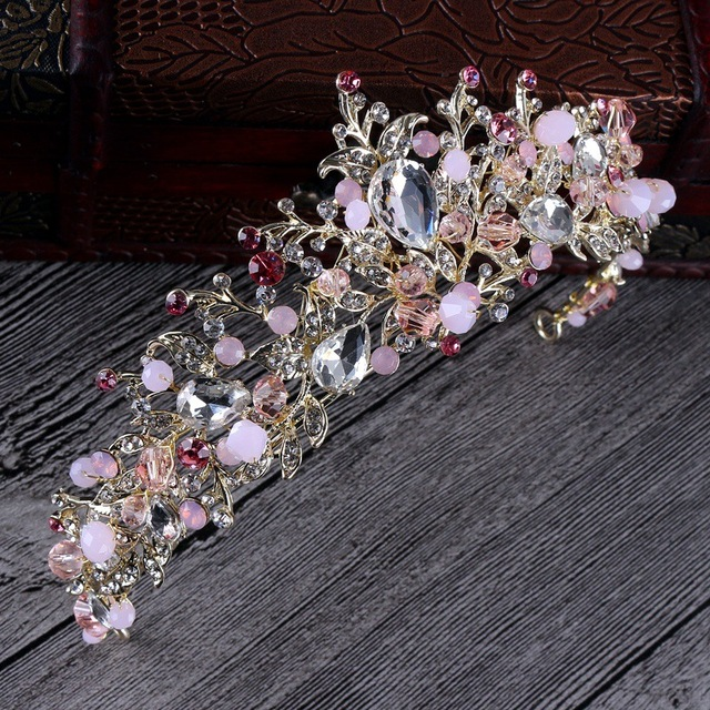 Luxury Pink Gold Pearl Bridal Crowns Handmade Tiara Bride Headbands Crystal Wedding Diadem Queen Crown Wedding Hair Accessories
