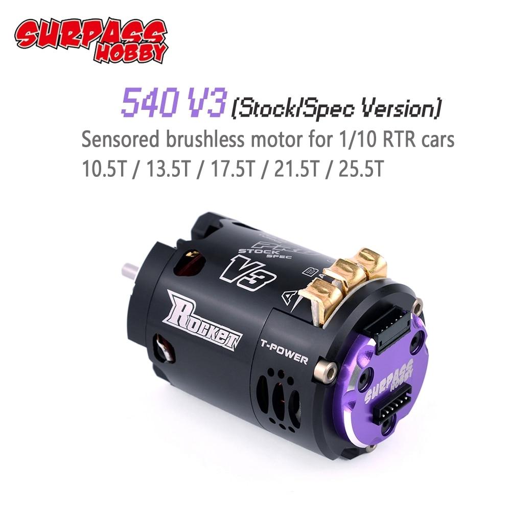 SURPASSHOBBY Rocket 540 V3 Pro 10.5T 13.5T 17.5T 21.5T 25.5T Sensored Brushless Motor For Spec Stock Competition 1/10 1/12 F1