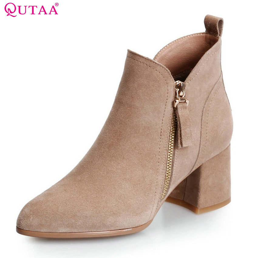 QUTAA 2018 Square High Heel Women Ankle Boots Cow Suede Zipper Deisgn Pointed Toe Westrn Style  Women Boots Size  34-39 qutaa 2018 women ankle boots cow suedezipper fashion pointed toe all match square high heel high quality women boots size 34 39