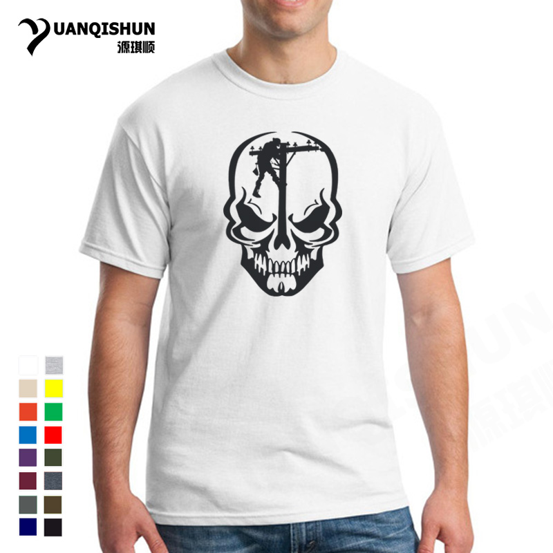 Men's Clothing Tops & Tees Funny For Skull Lineman Tshirt Novelty Design Journeyman Electrician Personality Skulls T-shirt Top Quality Men Cotton Tee Shirt Quell Summer Thirst