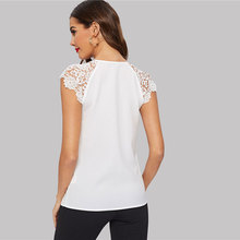 Notched Neck Guipure Lace Short Sleeve Blouse