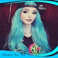 perruque synthetic women front lace wigs Mimi hair Fashion Blue Synthetic Lace front Wig Heat Resistant glueless Hair Straight