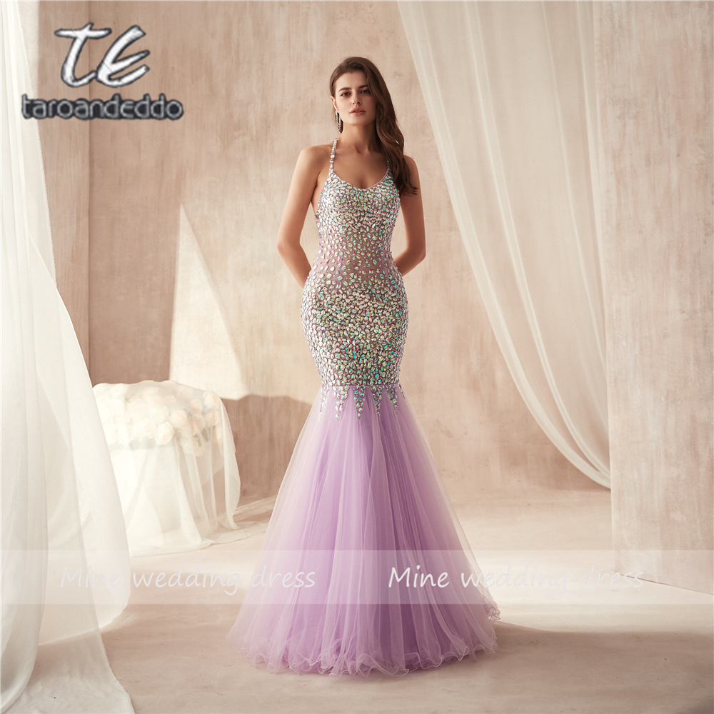Lilac Beaded Mermaid Prom Dress Sweetheart Neckline Open Back Bling Bling Spaghetti Straps Evening Gown Sheer Pageant Dress