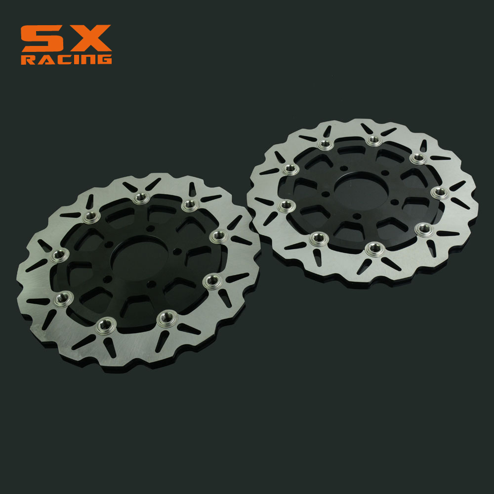 Motorcycle Black Front Floating Brake Disc Rotor For GSX600F 2004-2006 GSF650 2005-2006 SV650 2003-2009 GSX750F 2004-2006 2 Pcs