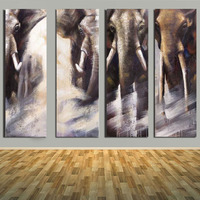 Hand Painted 4 Pieces Abstract elephants Oil Pianting Modern Wall Pictures Living Room Home Decor Canvas Picture Art Painting