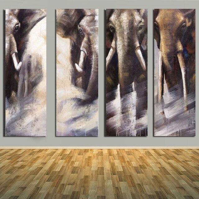 Moderne Wandbilder handgemalte 4 stücke abstrakte elefanten öl pianting moderne
