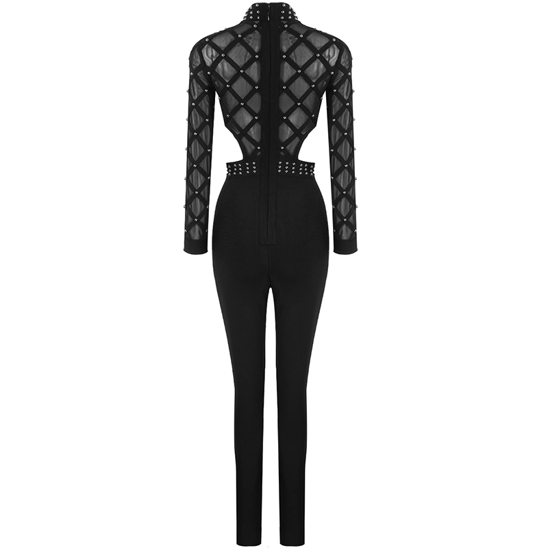 New Designer Sext Perspective Bead Party Jumpsuits Elegant Long Sleeve Striped Cross Lady Bosysuit Long Skinny Bandage Jumpsuit - 3