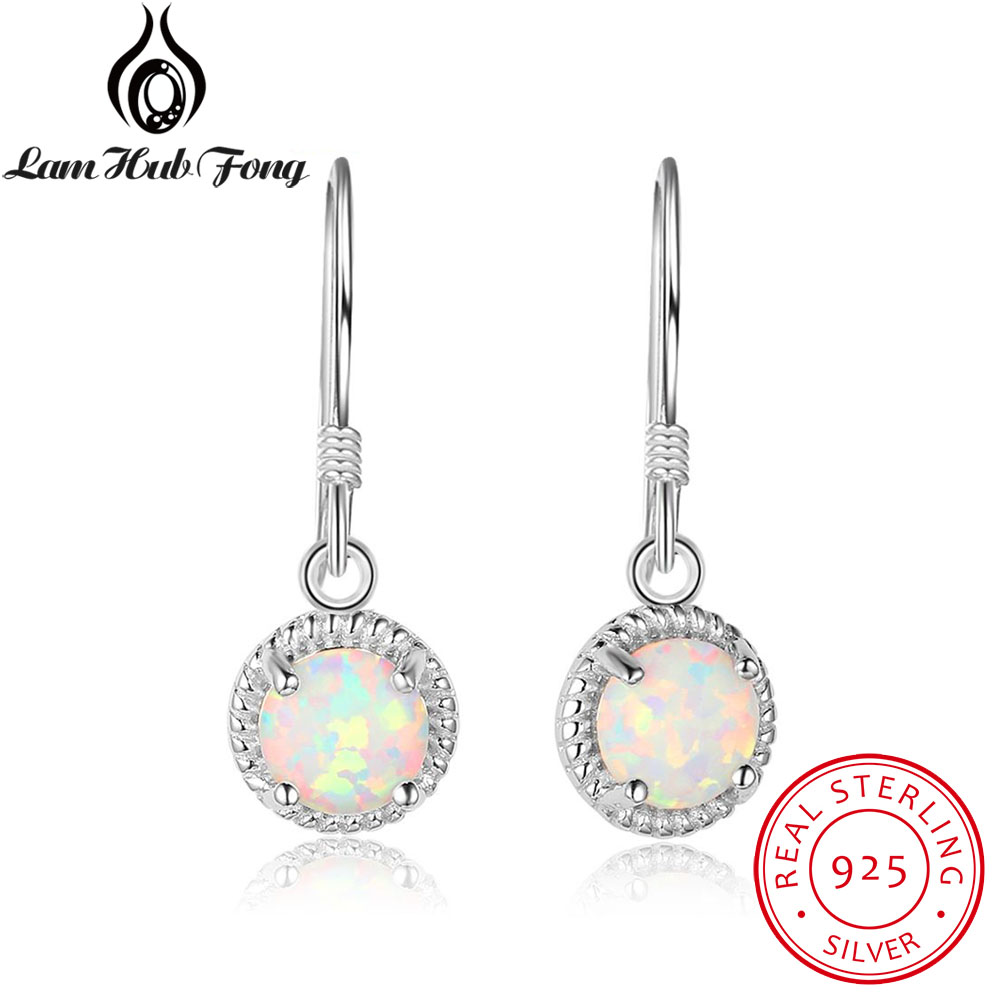 Real-Sterling-Earings 925-Jewelry Silver White Women Round Opal for Bridal Wedding