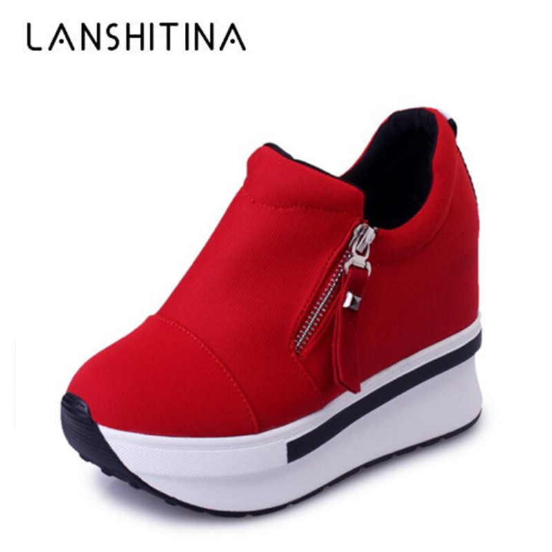 2019 New Women Wedge Platform Shoes 7.5CM High Heel Zipper Casual Red Breathable Height Increaseing Canvas Shoes Woman Sneakers