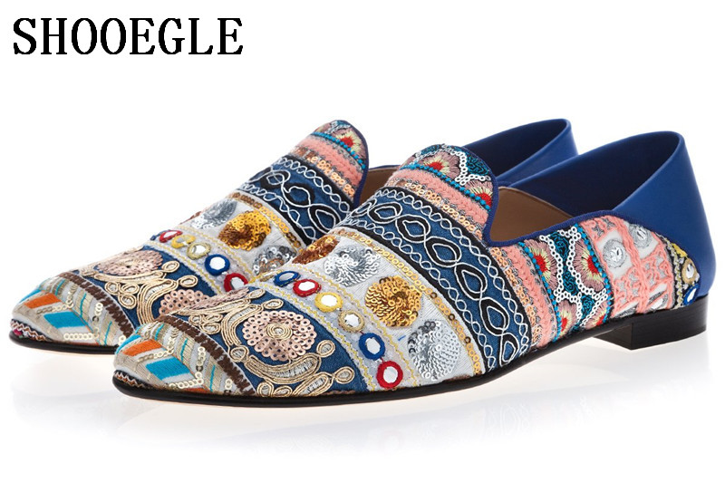 SHOOEGLE New Men Bohemia Style Canvas Hand-Embroidered Loafers Foldable Heel Slip-on Mules Ethnic Slippers Men Party ShoesSHOOEGLE New Men Bohemia Style Canvas Hand-Embroidered Loafers Foldable Heel Slip-on Mules Ethnic Slippers Men Party Shoes