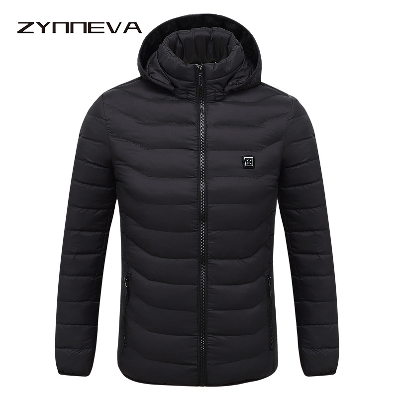 ZYNNEVA 2018 Invierno caliente calefacción chaquetas de los hombres las mujeres termostato inteligente puro Color con capucha caliente ropa de esquí senderismo abrigos GK6104